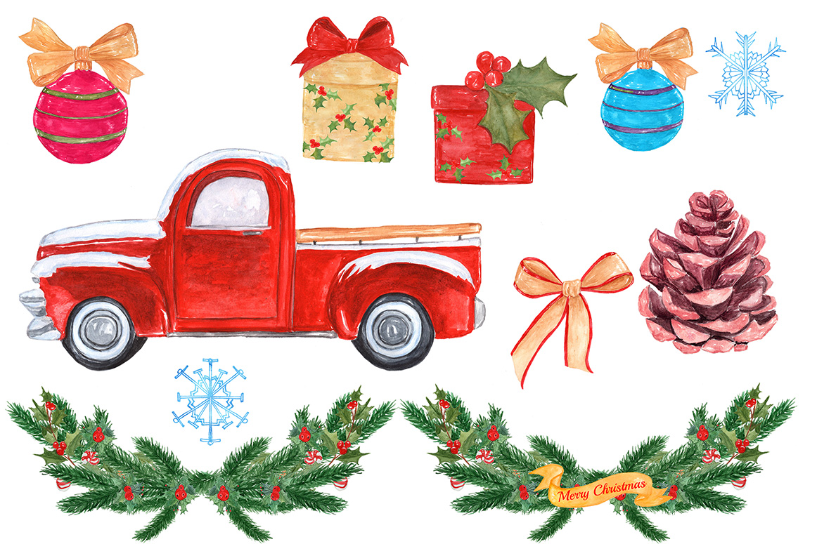 Watercolor truck clipart freeuse Watercolor Christmas truck clipart freeuse