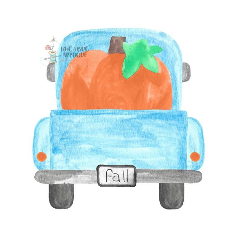Watercolor truck clipart clip art library library Truck Back Pumpkins Watercolor Clipart clip art library library