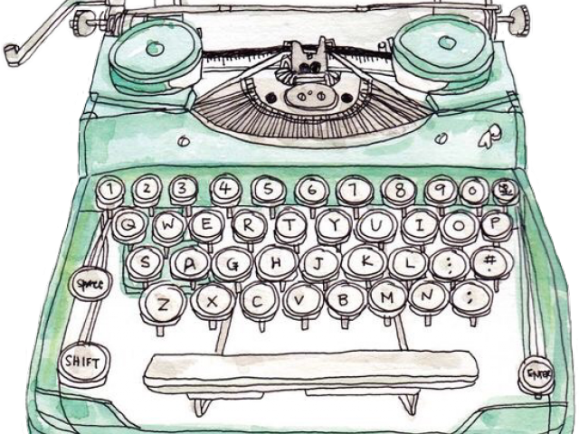 Watercolor typewriter clipart clip black and white library HD Typewriter Clipart Watercolor - Watercolor Typewriter Png ... clip black and white library