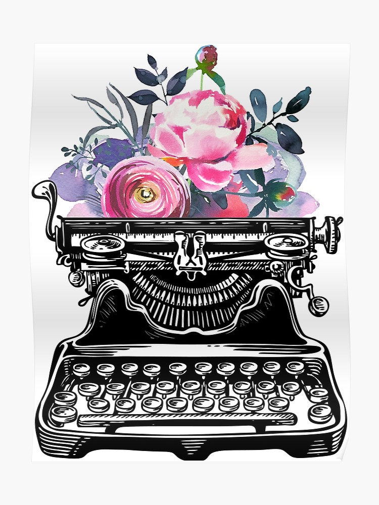 Watercolor typewriter clipart picture transparent stock Vintage typewriter, watercolor flowers, flowers, watercolor, writer gift,  writer, type, typewriter | Poster picture transparent stock