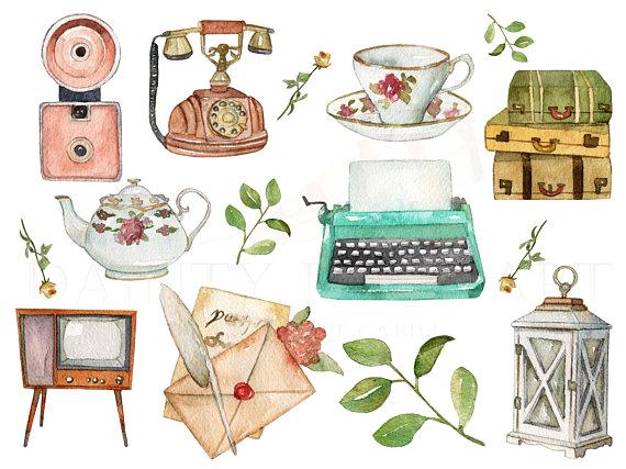 Watercolor typewriter clipart jpg free stock Vintage Clipart Watercolor Digital Download Travel Wedding ... jpg free stock