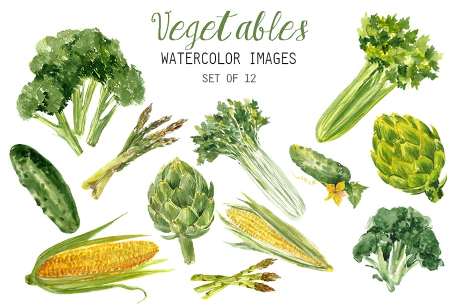 Watercolor veggie clipart clip royalty free stock Watercolor Vegetables Clipart clip royalty free stock