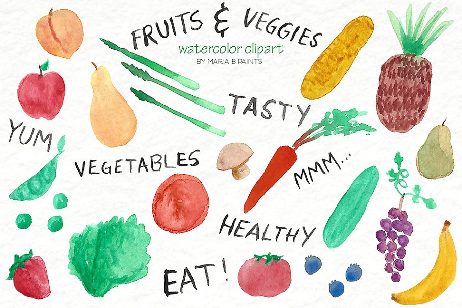 Watercolor veggie clipart jpg black and white stock Watercolor Clip Art - Fruit, Veggies jpg black and white stock