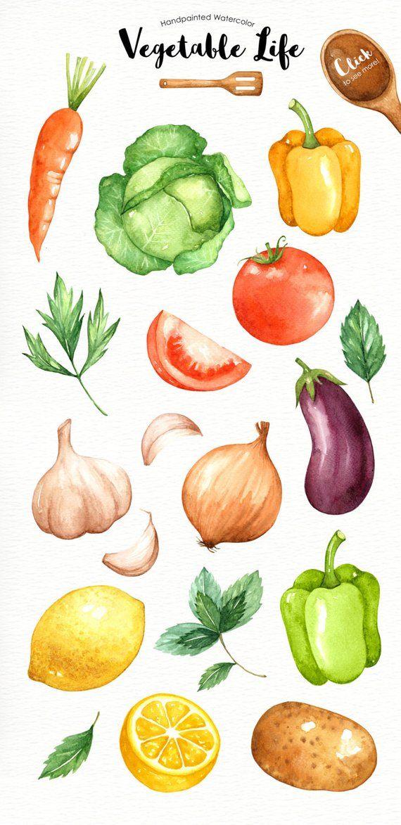 Watercolor veggie clipart picture freeuse download Vegetables Life Watercolor Cliparts, Veggies watercolor ... picture freeuse download