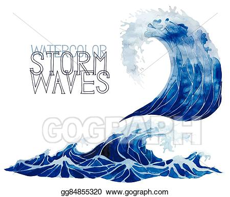 Watercolor wave clipart jpg freeuse library EPS Illustration - Watercolor storm waves set. Vector ... jpg freeuse library