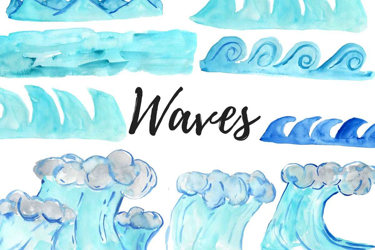 Waves clipart jpg freeuse stock Watercolor Waves Clipart jpg freeuse stock