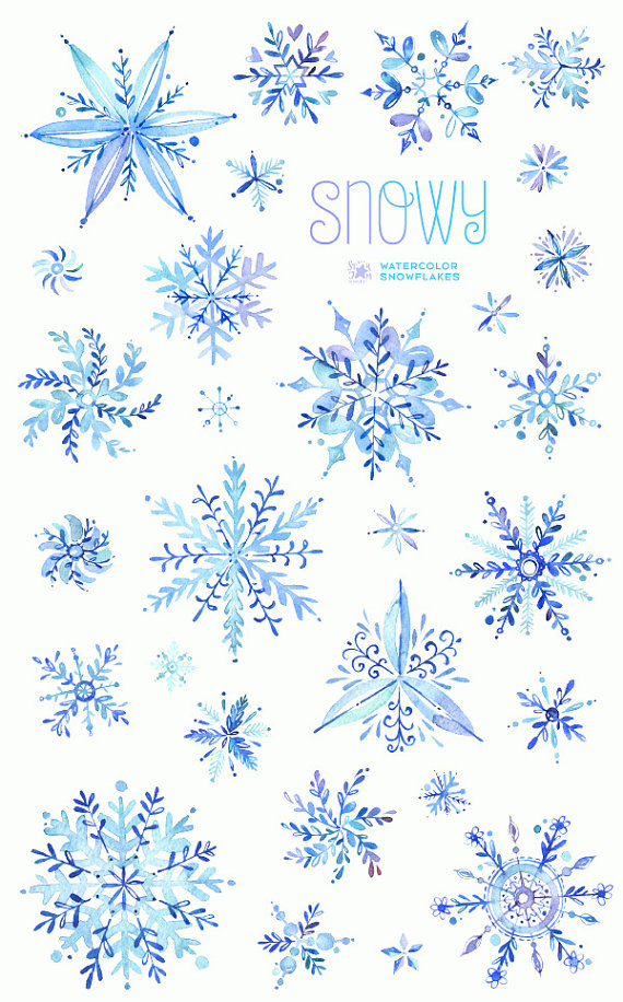 Watercolor winter clipart freeuse library Snowy. Watercolor winter clipart, snowflakes, christmas ... freeuse library