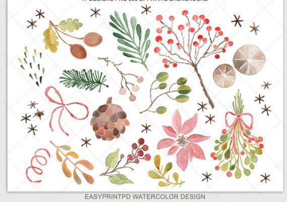 Watercolor winter clipart svg freeuse download Christmas Winter Watercolor Clipart - Personal and ... svg freeuse download