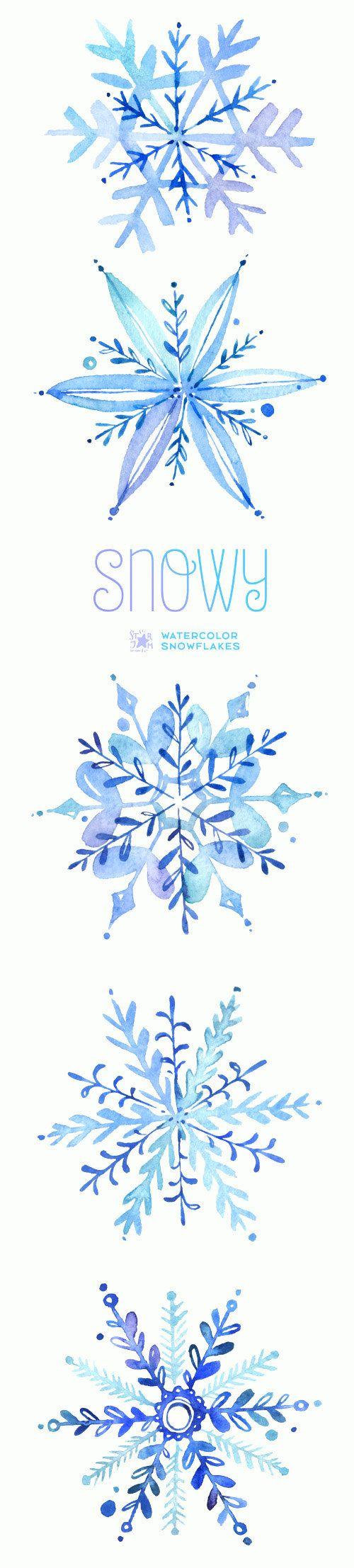 Watercolor winter clipart graphic transparent stock Snowy. Watercolor winter clipart, snowflakes, christmas ... graphic transparent stock