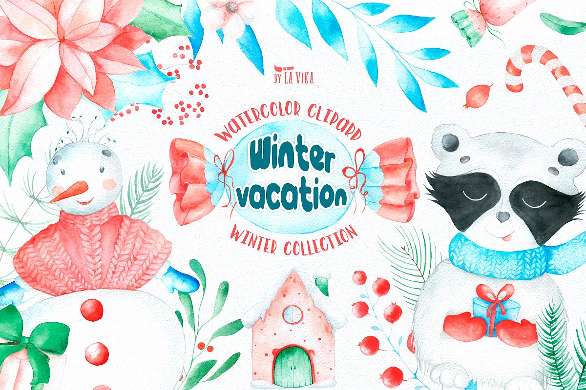 Watercolor winter clipart banner free download Watercolor Winter Clipart - Winter vacation banner free download