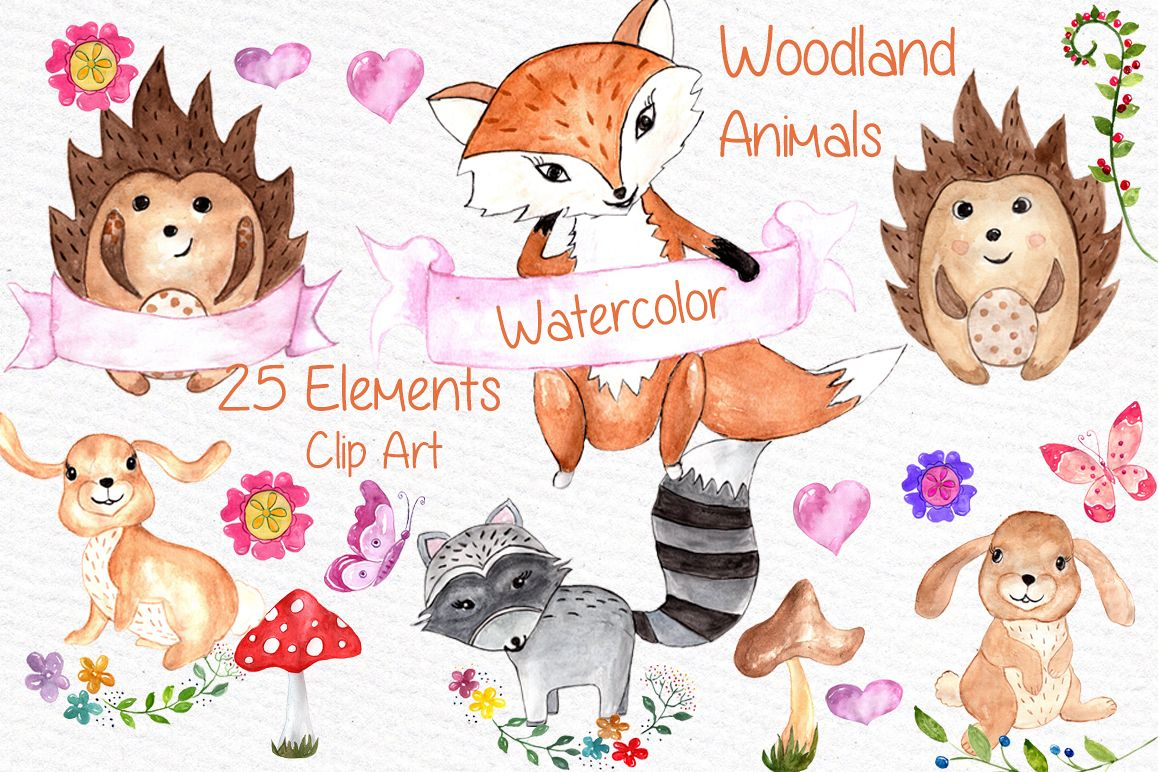 Watercolor woodland animals clipart vector royalty free library Watercolor woodland animals clipart vector royalty free library
