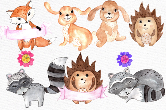 Watercolor woodland animals clipart svg free stock Watercolor woodland animals clipart svg free stock