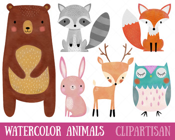 Watercolor woodland animals clipart picture royalty free stock Woodland Animals Clip Art picture royalty free stock