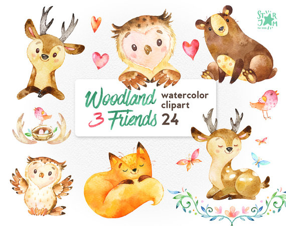 Watercolor woodland animals clipart png library Woodland Animals Watercolor at PaintingValley.com | Explore ... png library