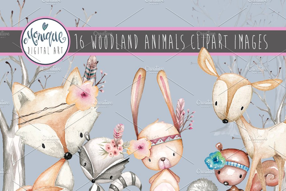 Watercolor woodland animals clipart vector transparent Woodland Animals Clipart Watercolor vector transparent