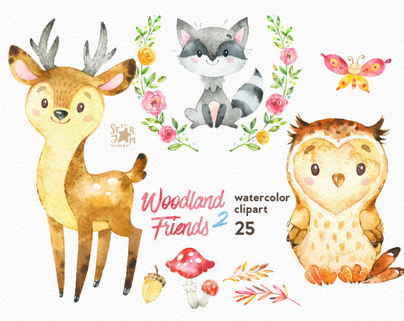 Watercolor woodland animals clipart image transparent download Woodland Friends 2. Watercolor animals clipart, forest, deer ... image transparent download