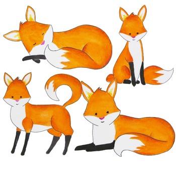 Watercolorfox clipart clipart transparent stock Watercolor fox clipart, foxes clipart, Red fox clip art clipart transparent stock