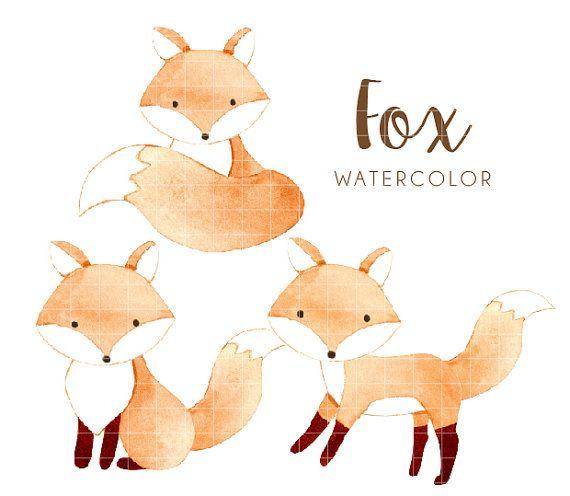 Watercolorfox clipart clip royalty free Pin by Step Saputra on Party Printables | Watercolor fox ... clip royalty free