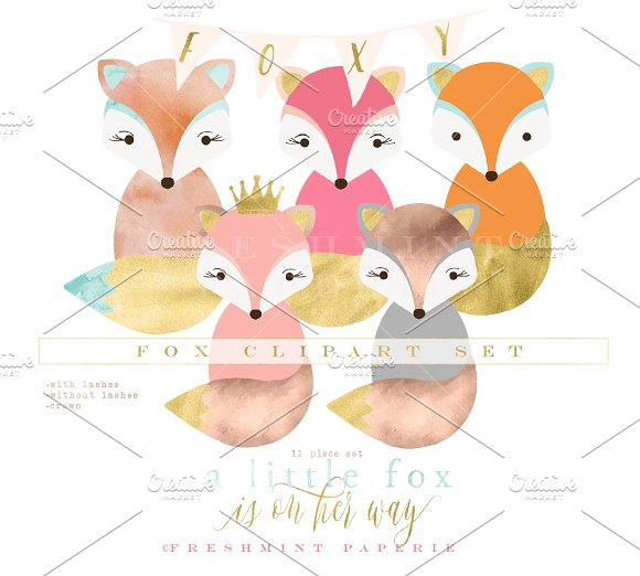 Watercolorfox clipart banner download watercolor fox clipart set banner download
