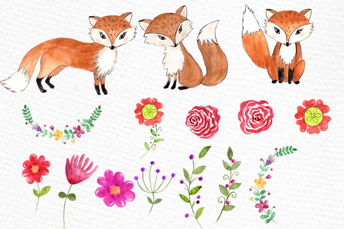 Watercolorfox clipart image black and white download Watercolor fox clipart image black and white download