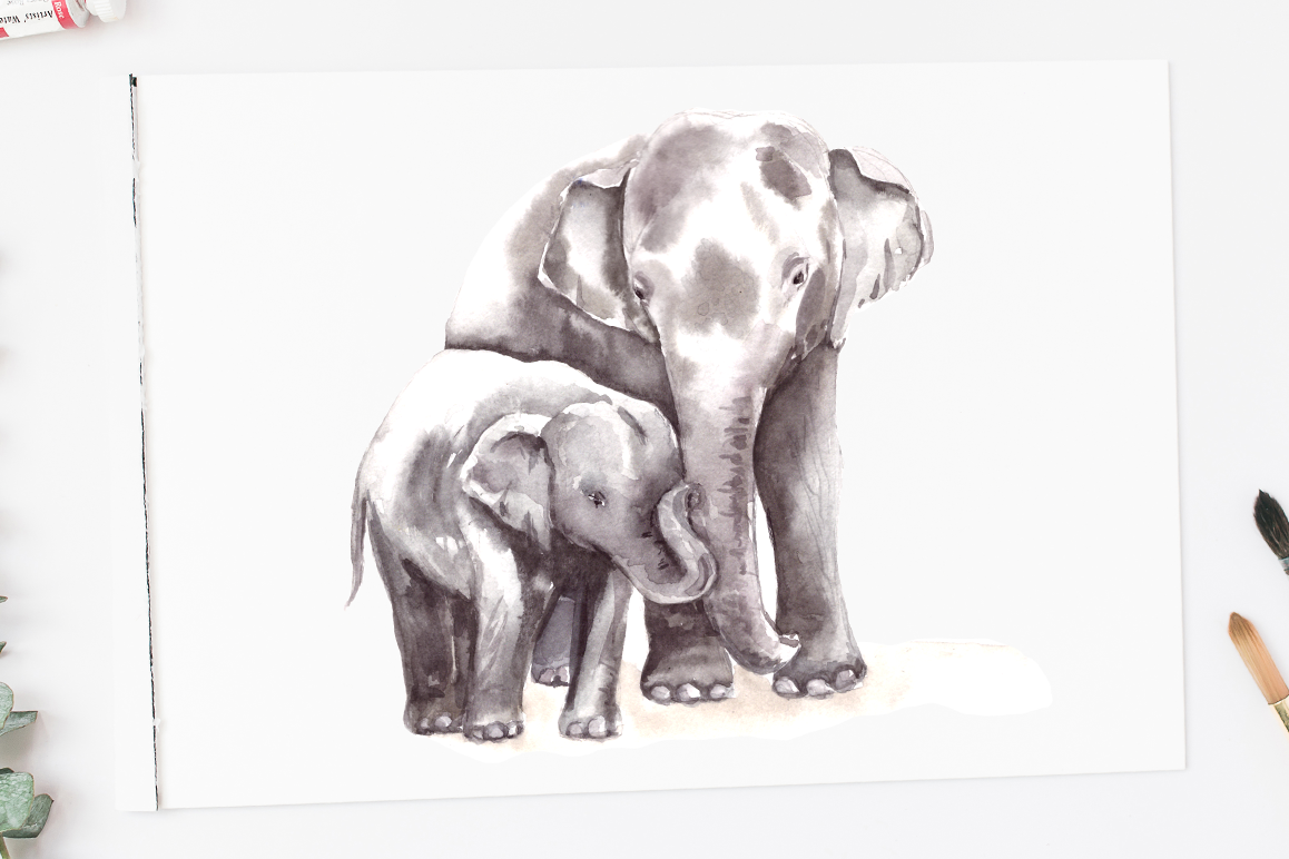 Watercolormomma and baby elephant clipart clip black and white Watercolor Mother & Baby - Elephants - Clip Art & Print clip black and white