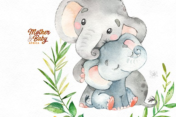 Watercolormomma and baby elephant clipart svg free Mother & Baby. Africa. svg free
