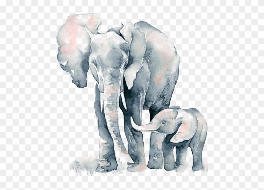 Watercolormomma and baby elephant clipart clipart Png Freeuse Library Painting Elephant Transprent Png - Mom ... clipart