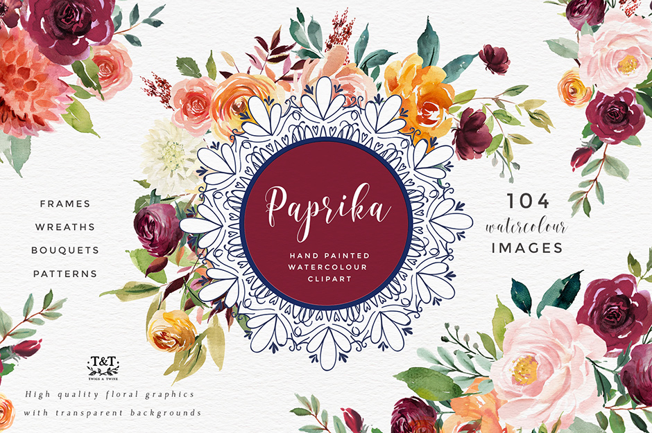 Watercolour clipart to buy vector royalty free library Paprika: Watercolor Flower Clipart - Design Cuts vector royalty free library