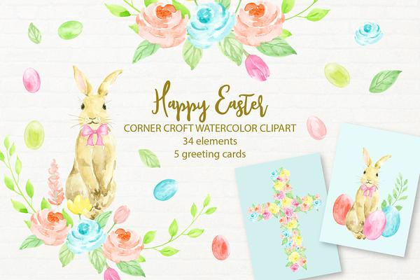 Watercolour clipart to buy clip art black and white stock Happy Easter Watercolor Clipart and Easter Cards Instant Download clip art black and white stock