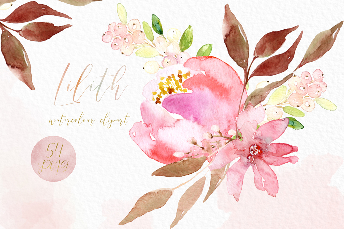 Watercolour flowers clipart png library Lilith Pink Watercolour Flowers Clipart - Design Cuts png library