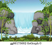 Waterfall clipart jpg transparent download Waterfall Clip Art - Royalty Free - GoGraph jpg transparent download