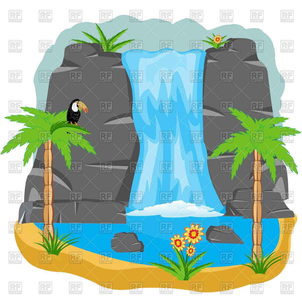 Waterfall clipart black and white stock Waterfall clipart 6 » Clipart Station black and white stock