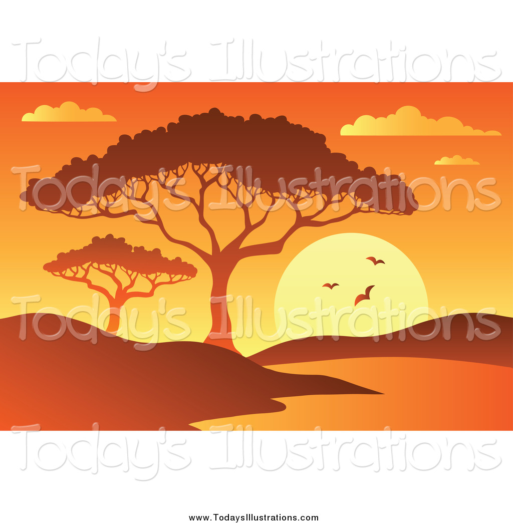 Waterin hole clipart graphic free stock Clipart of a Orange African Sunset with a Tree and Watering ... graphic free stock