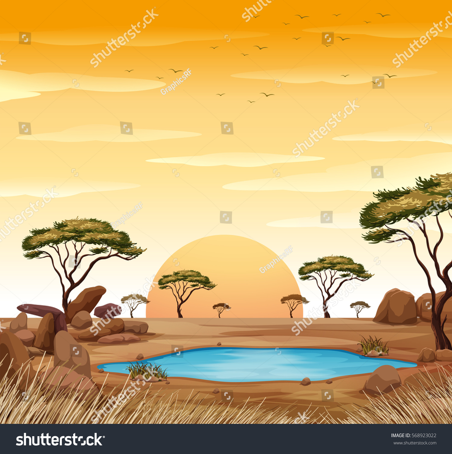 Waterin hole clipart picture library library Scene Water Hole Field Illustration Stock #287751 ... picture library library