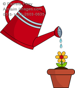 Watering flowers planters clipart jpg black and white Clip Art Image of a Watering Can Watering a Flower jpg black and white