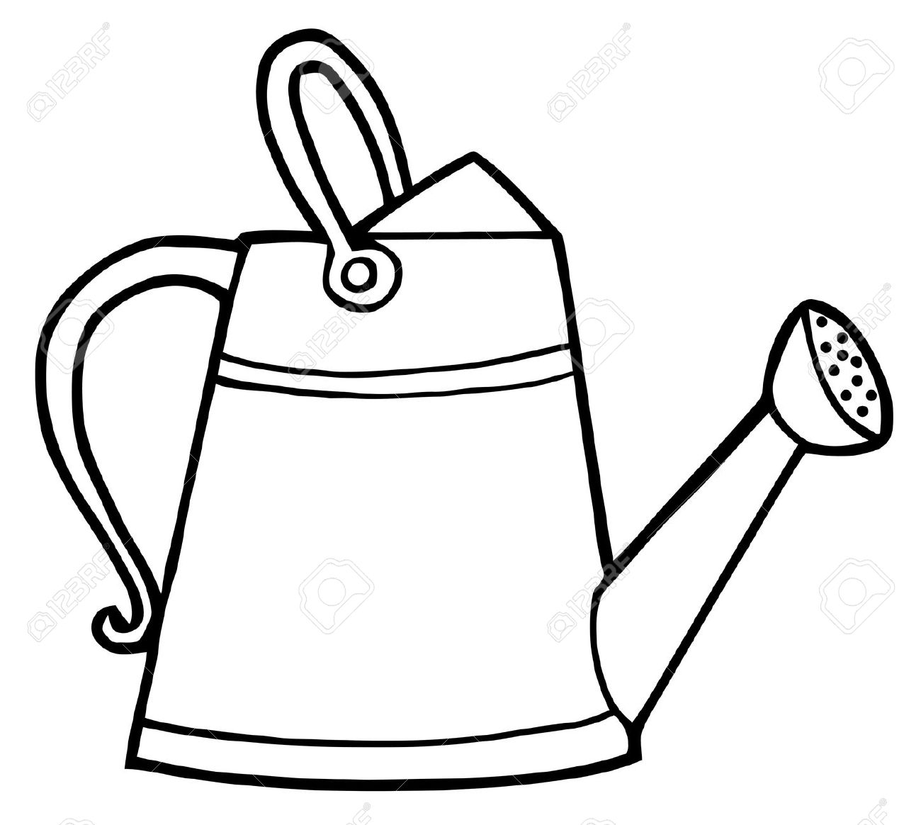 Watering can with flowers clipart black and white stock Water Can Clipart   Free download best Water Can Clipart on ... stock