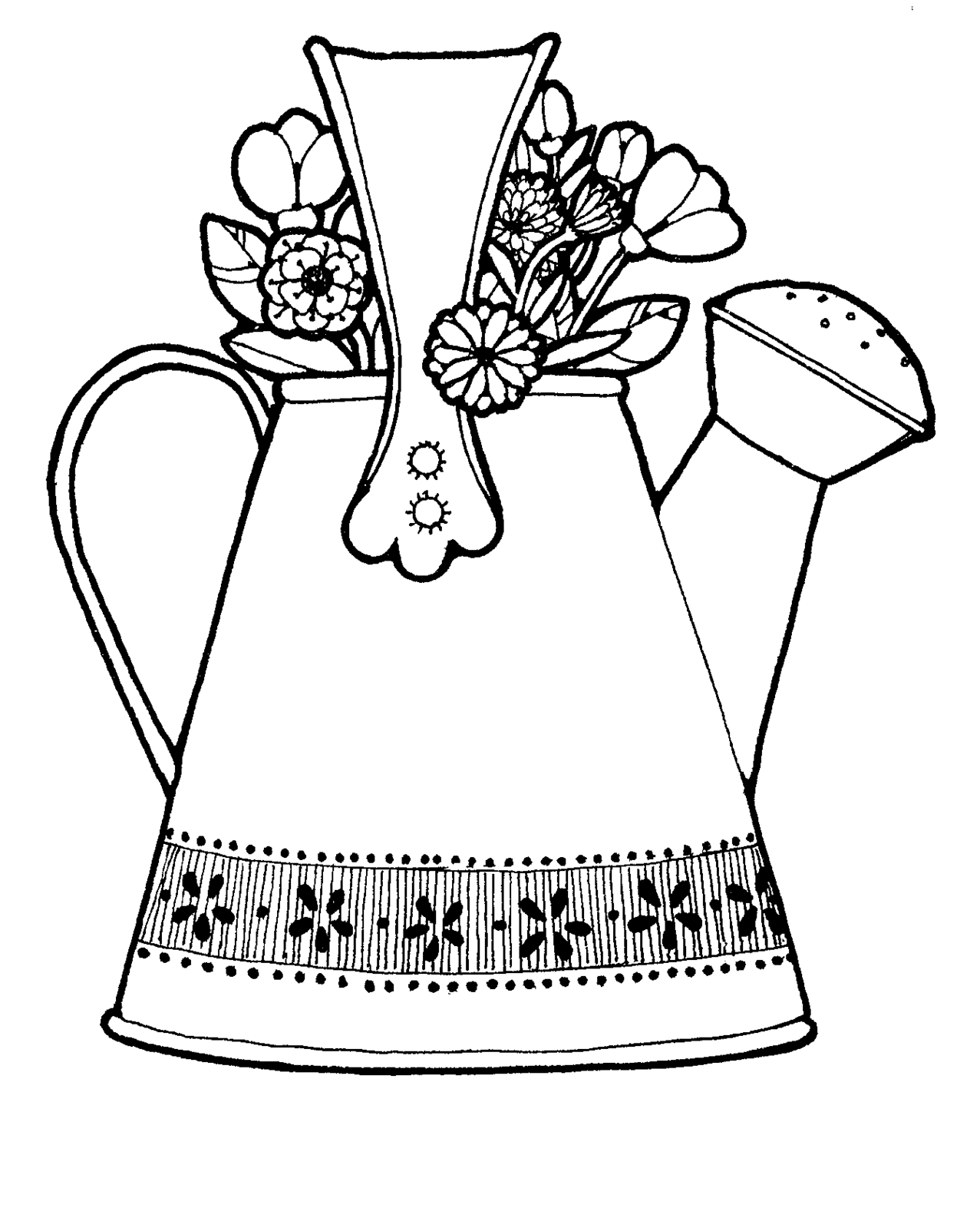 Watering can with flowers clipart black and white banner library stock Watering can colouring clipart - WikiClipArt banner library stock