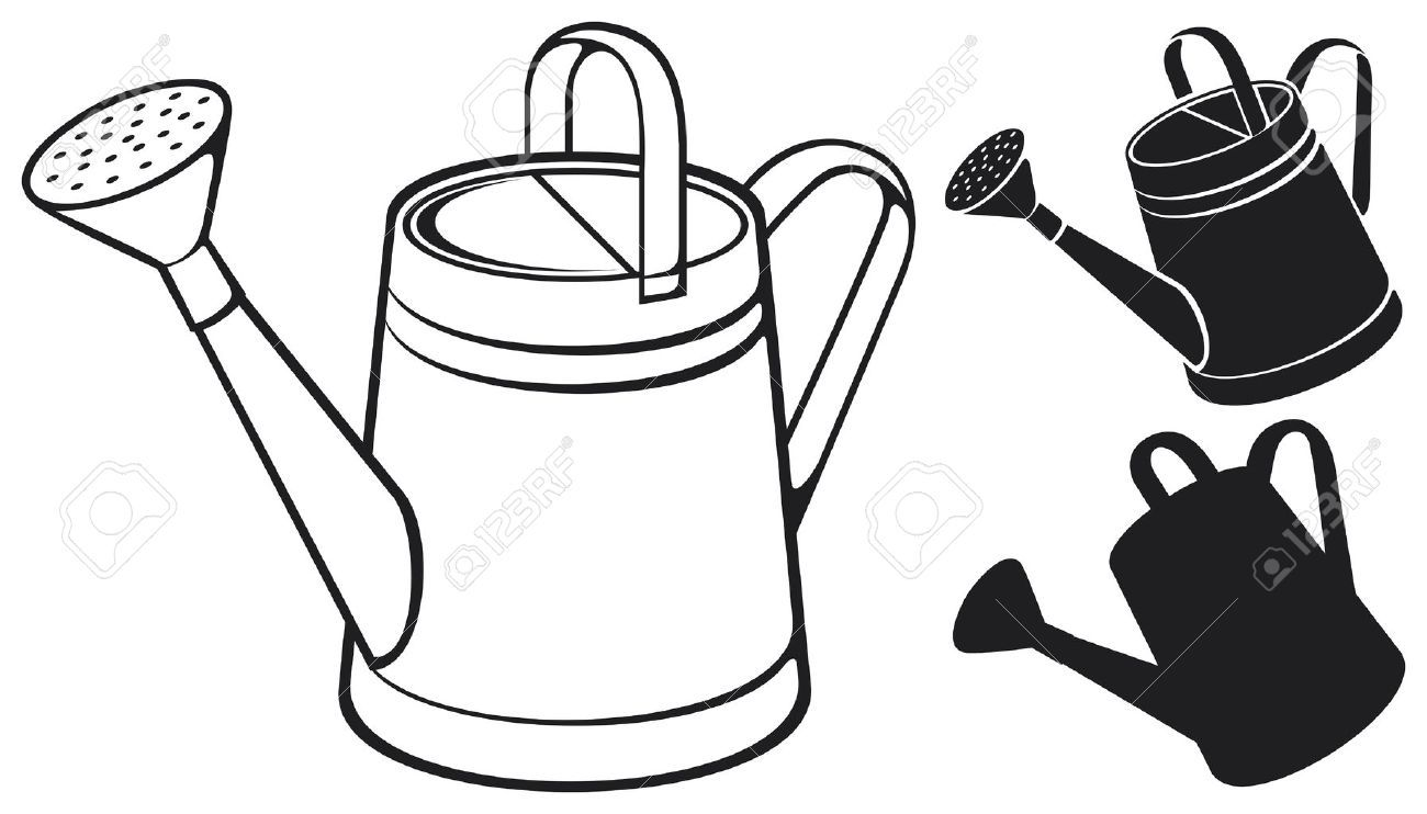 Watering can with flowers clipart black and white clip art black and white stock Watering can clipart black and white 5 » Clipart Portal clip art black and white stock