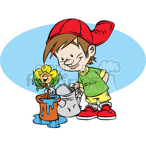 Watering flowers clipart