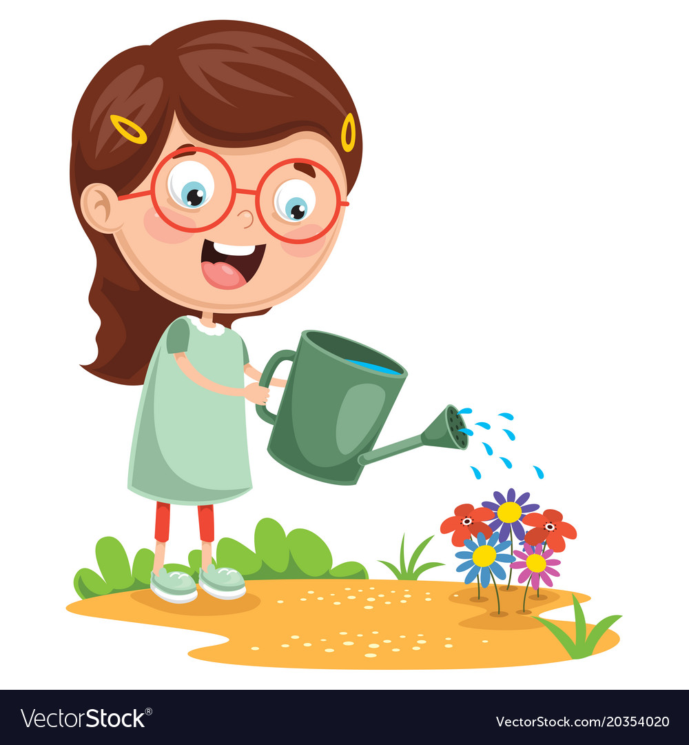 Watering flowers planters clipart