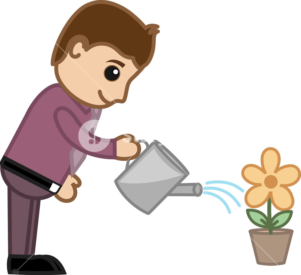 Watering flowers planters clipart clip art Man Watering Flower Plant - Business Cartoon Character ... clip art