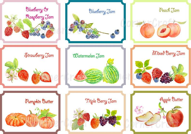 Watermelon peaches berries clipart graphic freeuse download Watercolor fruit jam and butter labels gift tags instant download graphic freeuse download