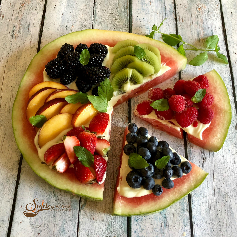 Watermelon peaches berries clipart image free Watermelon Pizza - Swirls of Flavor image free