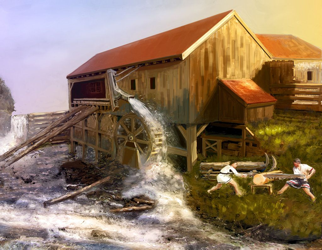 Water-powered sawmill free clipart jpg stock Old Sawmill, illustrative version by Erebus-art on ... jpg stock