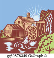 Waterwheel clipart banner transparent library Water Wheel Clip Art - Royalty Free - GoGraph banner transparent library