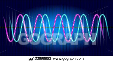 Wave graph clipart banner black and white library Vector Clipart - Neon wave graph. oscilloscope with image of ... banner black and white library
