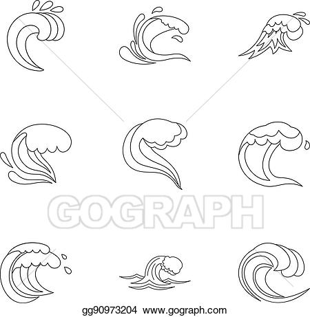 Waves drawing outline clipart image stock Vector Art - Sea waves icons set, outline style. Clipart ... image stock