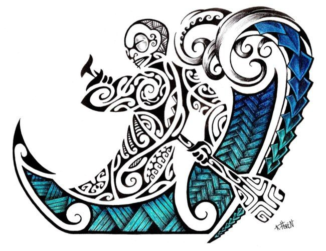 Waves tattoo polynesian clipart picture free library Maori Tattoo Design in Colour of a Polynesian Tiki rowing ... picture free library