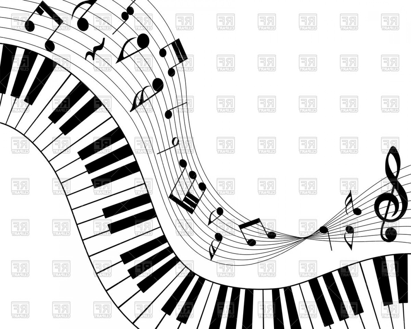 Wavy piano keys drawing clipart picture black and white Musical Note Staff And Piano Keys Music Concept Vector ... picture black and white