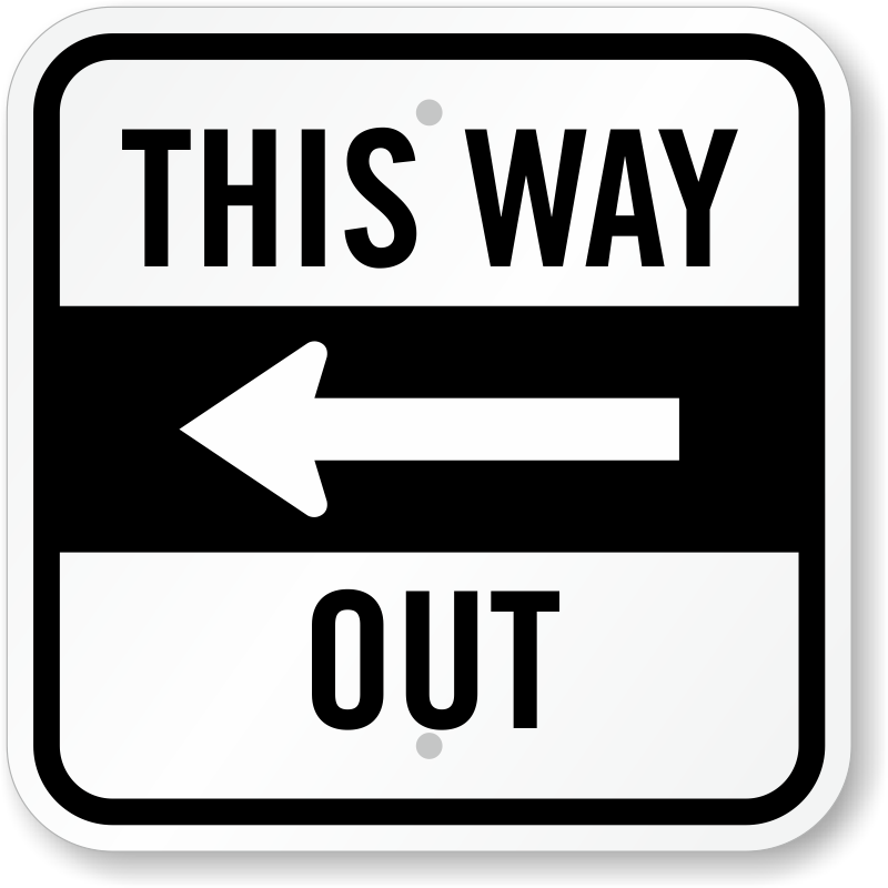 Way out clipart picture royalty free library This Way Out with Left Arrow Directional Sign, SKU: K-0336-L picture royalty free library